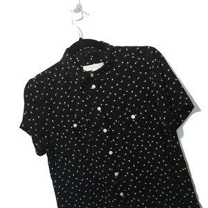 Ann Taylor LOFT Dog Foot Print Short Sleeves Shirt